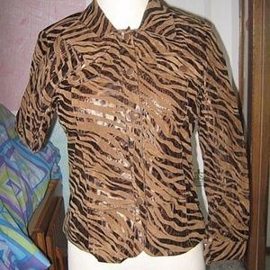 Brown w/ Bronze Tiger Stripe Leopard Print Blazer